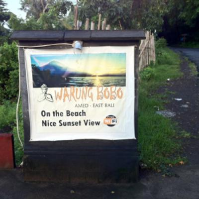 Amed restaurant warung bobo sign